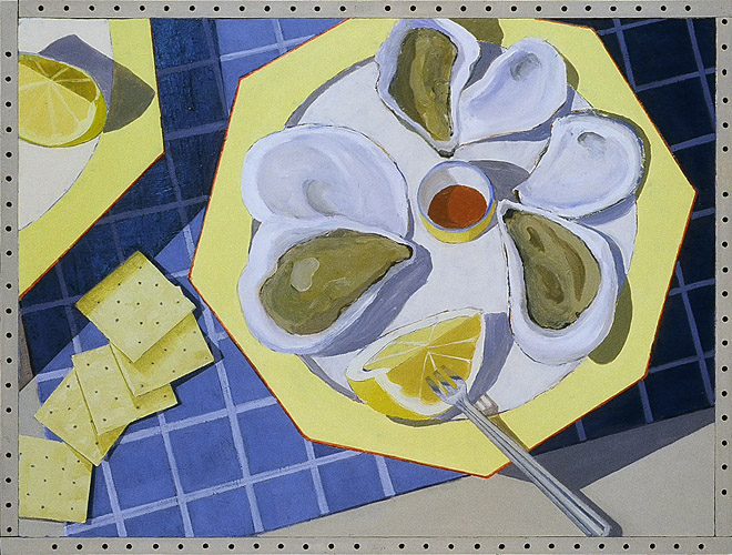Wellfleet Oysters on a Yellow Plate